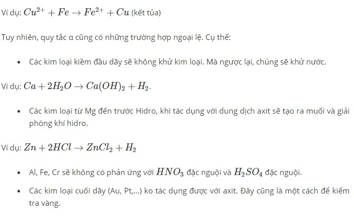Ý nghĩa của dãy điện hóa kim loại
