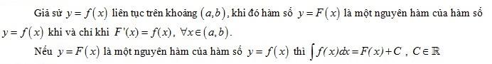 Định nghĩa về nguyên hàm cơ bản